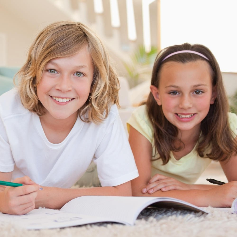 two siblings doing study - a project from the Preparing in Primary website